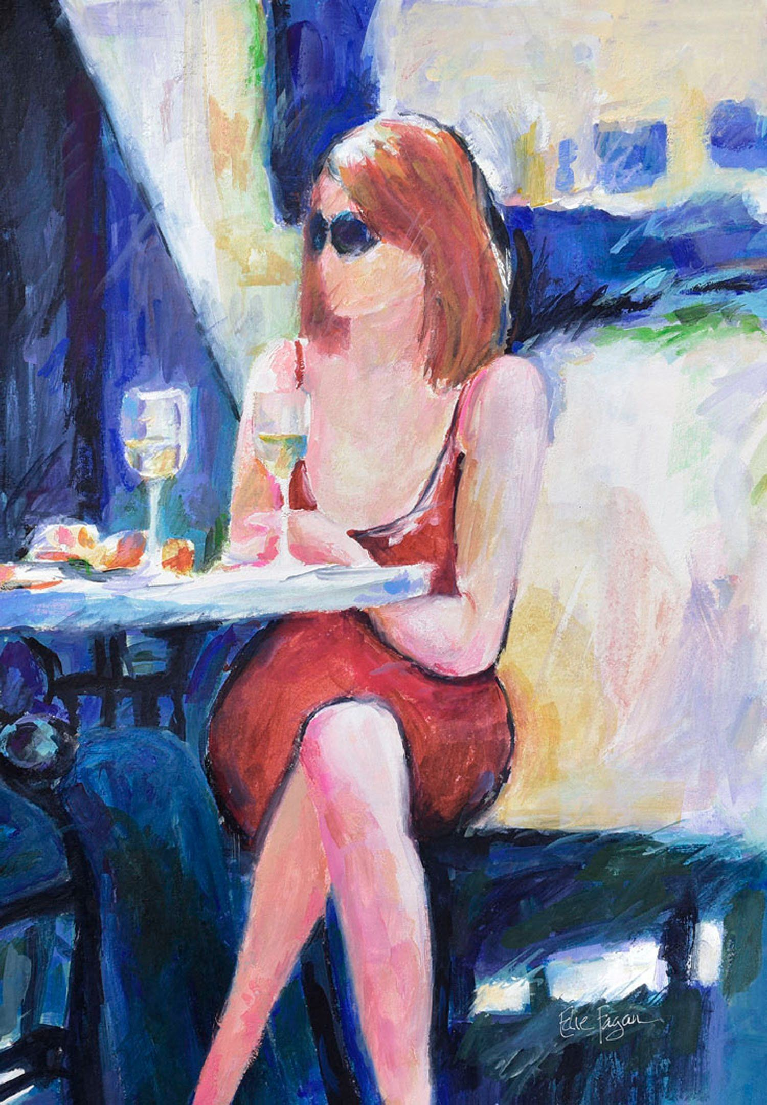Woman Drinking Wine Mixed Media Painting Watercolor Print Wine