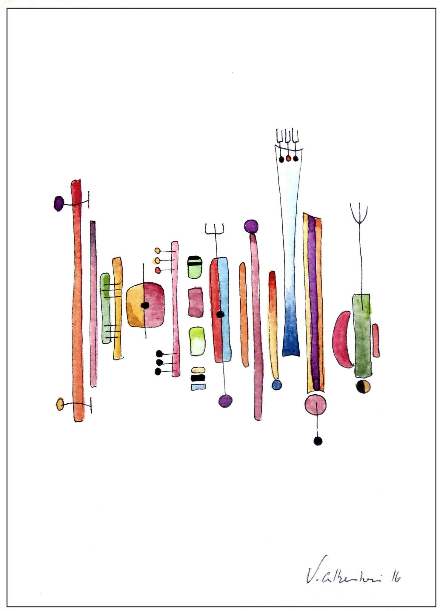 belle aquarelle abstraite couleur valerie albertosi geometrie peiture lignes (avec images ...