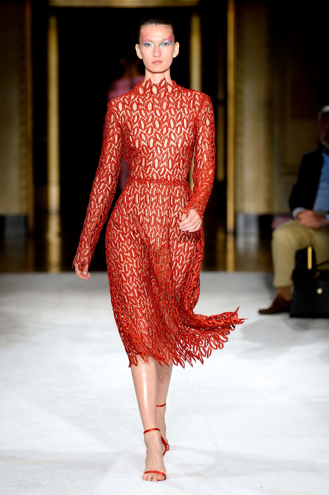 Christian Siriano Takes Inspiration From Modern Pop Artists For Spring 2020 Red Crochet Dress Fashion Christian Siriano