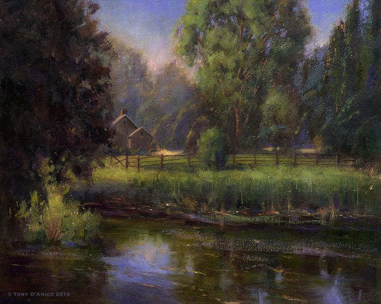 Summertime By The Old Mill Pond Oil Art Fine Art Painting