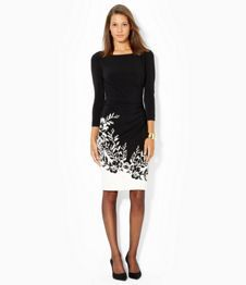 Lauren Ralph Lauren Ruched Floral-Hem Dress