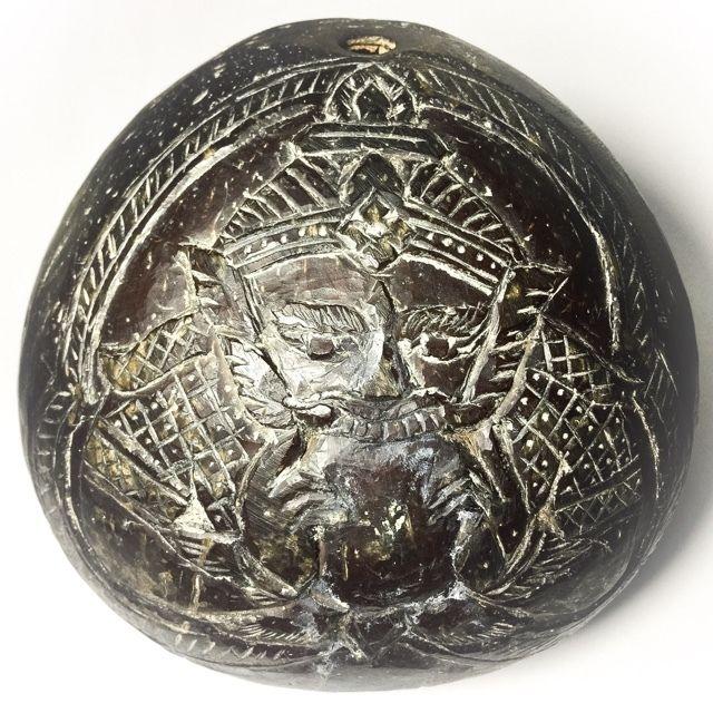 Kala Ta Diaw Rahu Om Jantra Om Surya 1 Eyed Coconut Carved Asura deva Eclipse God - Bucha Kroo Luang Por Noi Ceremony - Luang Por Pin Wat Srisa Tong, $280 U.S.
