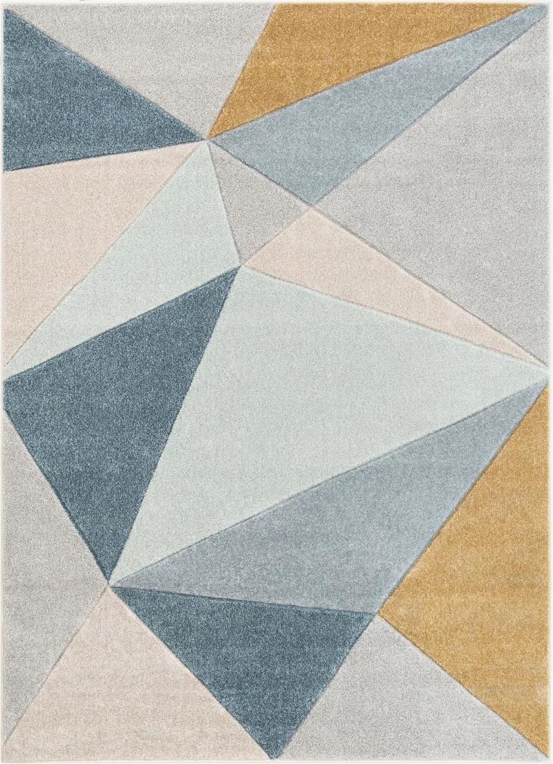 2020 的 Tamara Blue MidCentury Modern Geometric Rug By