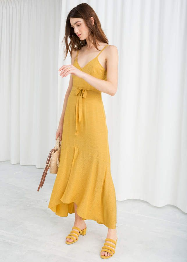 52f1ee32ad85 Belted Midi Dress in 2019 | Products | Yellow midi dress, Yellow ...