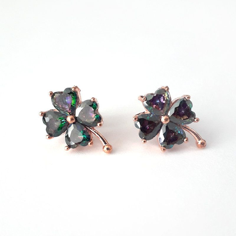 f3115201f Mystic Topaz Clover Earrings, Silver Clover Earring, Four Leaf Clover, Luck  Earrings,Minimal Stud Earrings, Rose Gold Sterling Jewelry Gift by  silkroadgifts ...