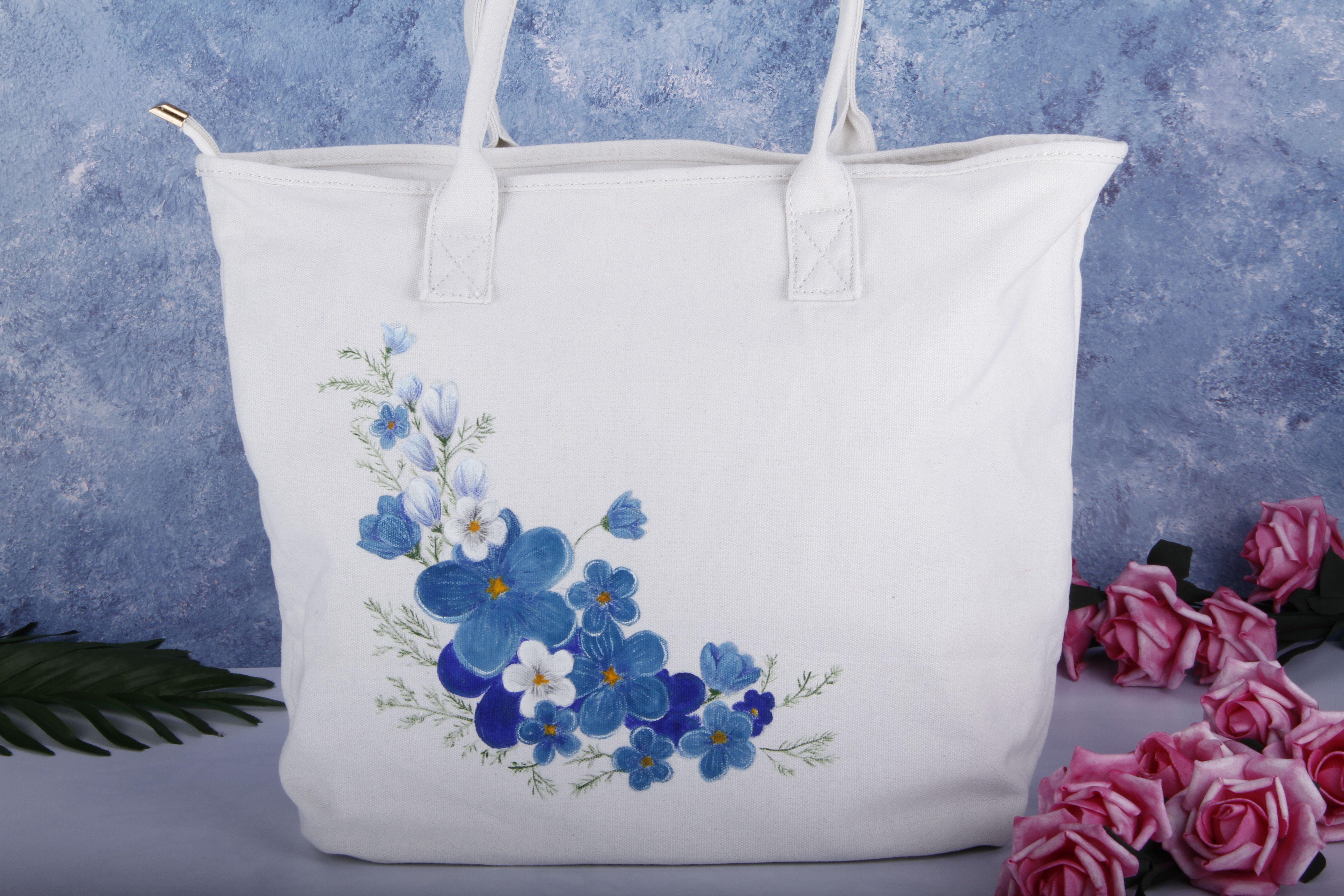 Vintage Blue Floral Large Tote Bag Flower Vegan Bag Organic Cotton