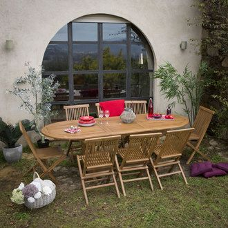 Table de jardin ovale extensible en teck 180 240x100cm for Table ovale extensible bois