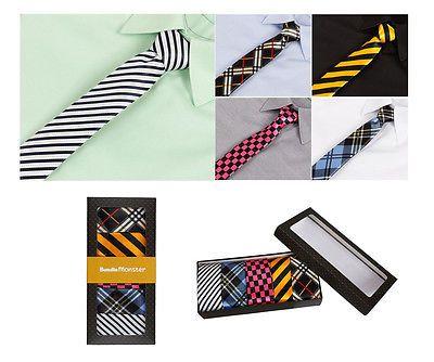 Bundle Monster Mens Fashion Business Solid Woven Stripe Necktie Tie Set