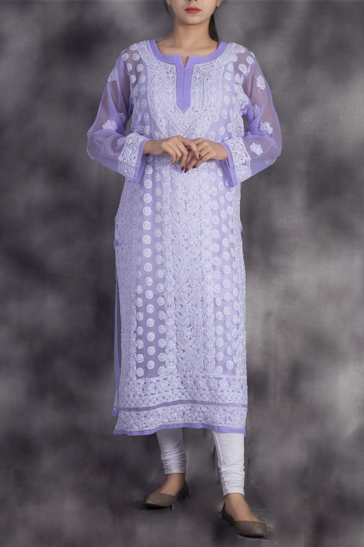 White Pleated Chikankari Georgette Kurti Top Lucknowi Dress
