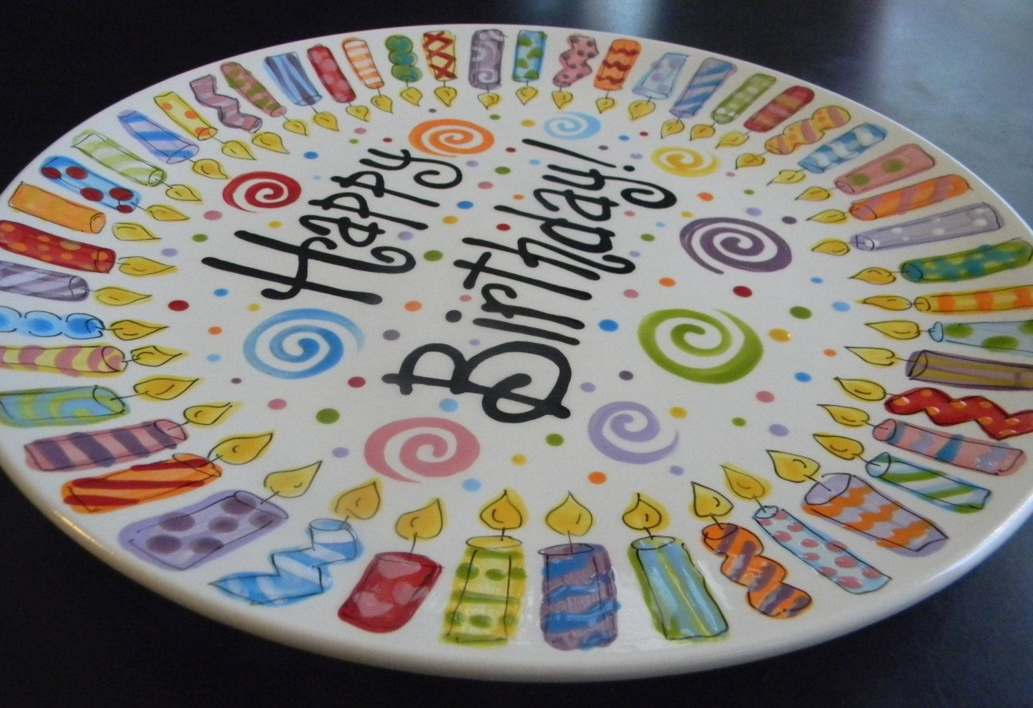 Happy Birthday plate & Extra Large Family Birthday Plate - 12 Inch Ceramic Plate ...