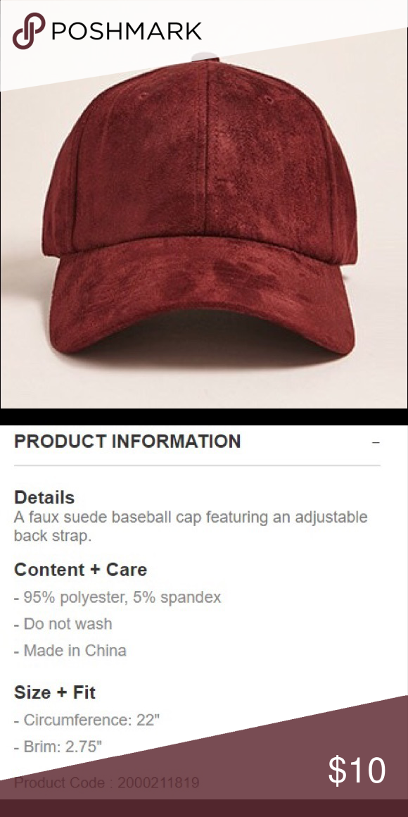 c61e43c4dee0c6 Forever 21 Faux Suede Cap Burgundy faux suede adjustable men's baseball cap.  Great condition. Forever 21 Accessories Hats