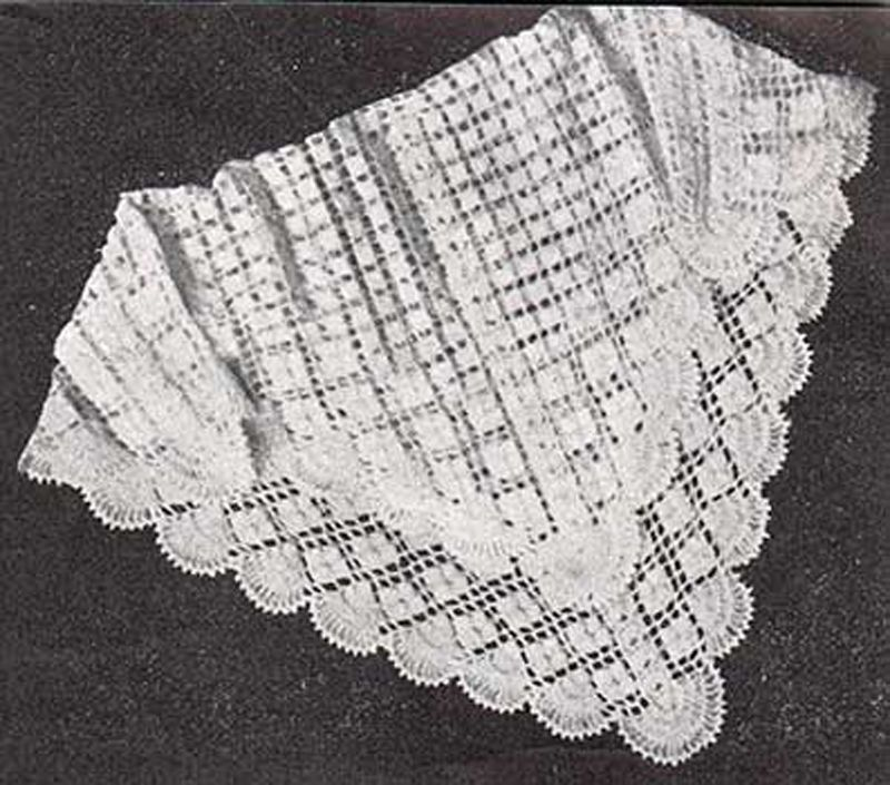 Crochet Pattern -Baby Vintage 3ply shawl pattern- measures ...