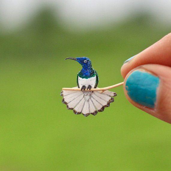 Papercut bird -Hummingbird - White necked jacobin - Hummingbird bird art - Original art - Miniature