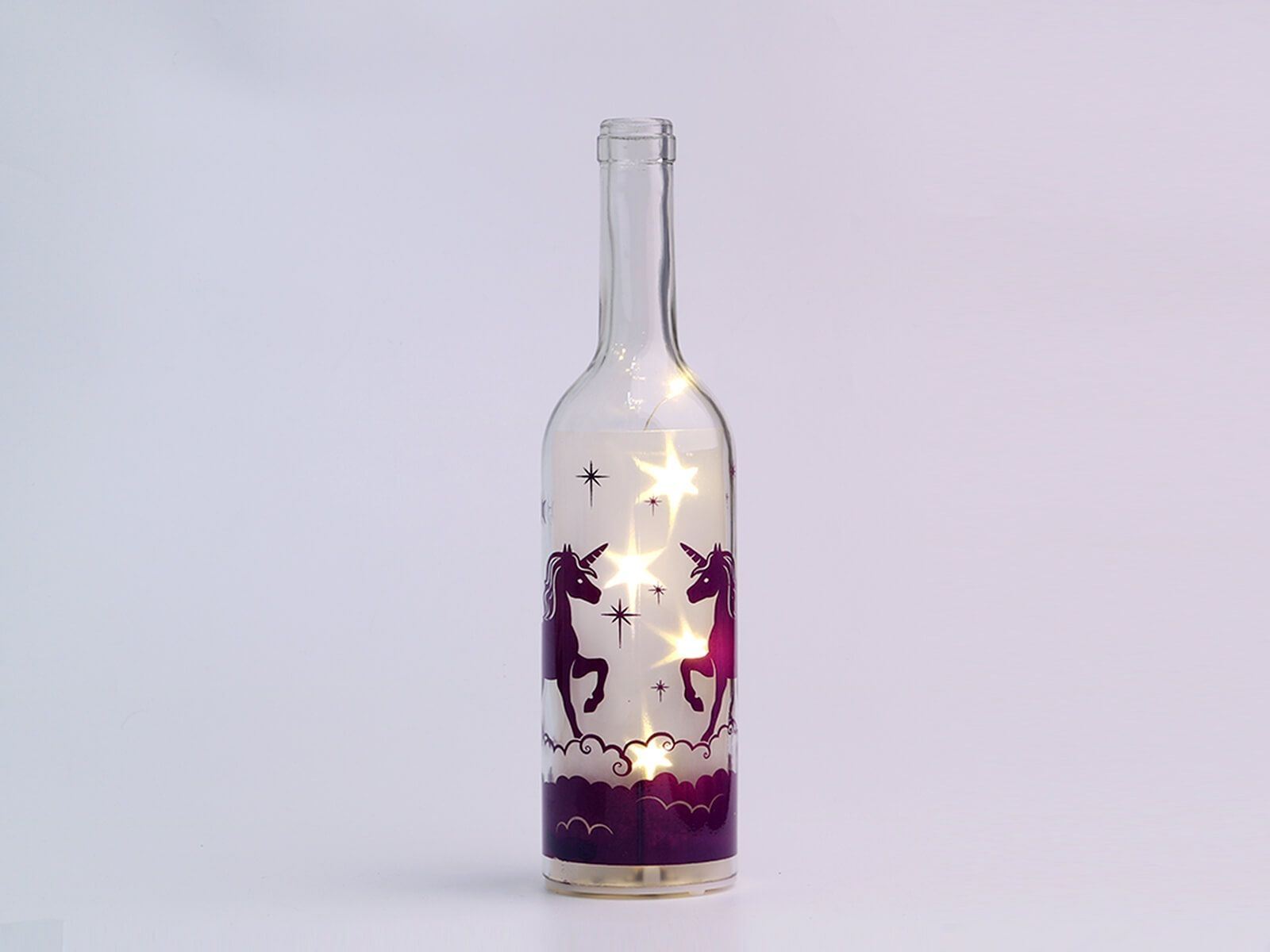 Wholesale Decorative Glass Bottles Unicorn Wholesale Starlight Glass Bottle With Aaa Battery