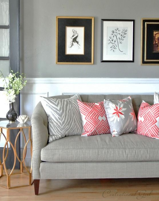 Charmant Pretty Gray And Coral Living Room Scheme By Centsational Girl