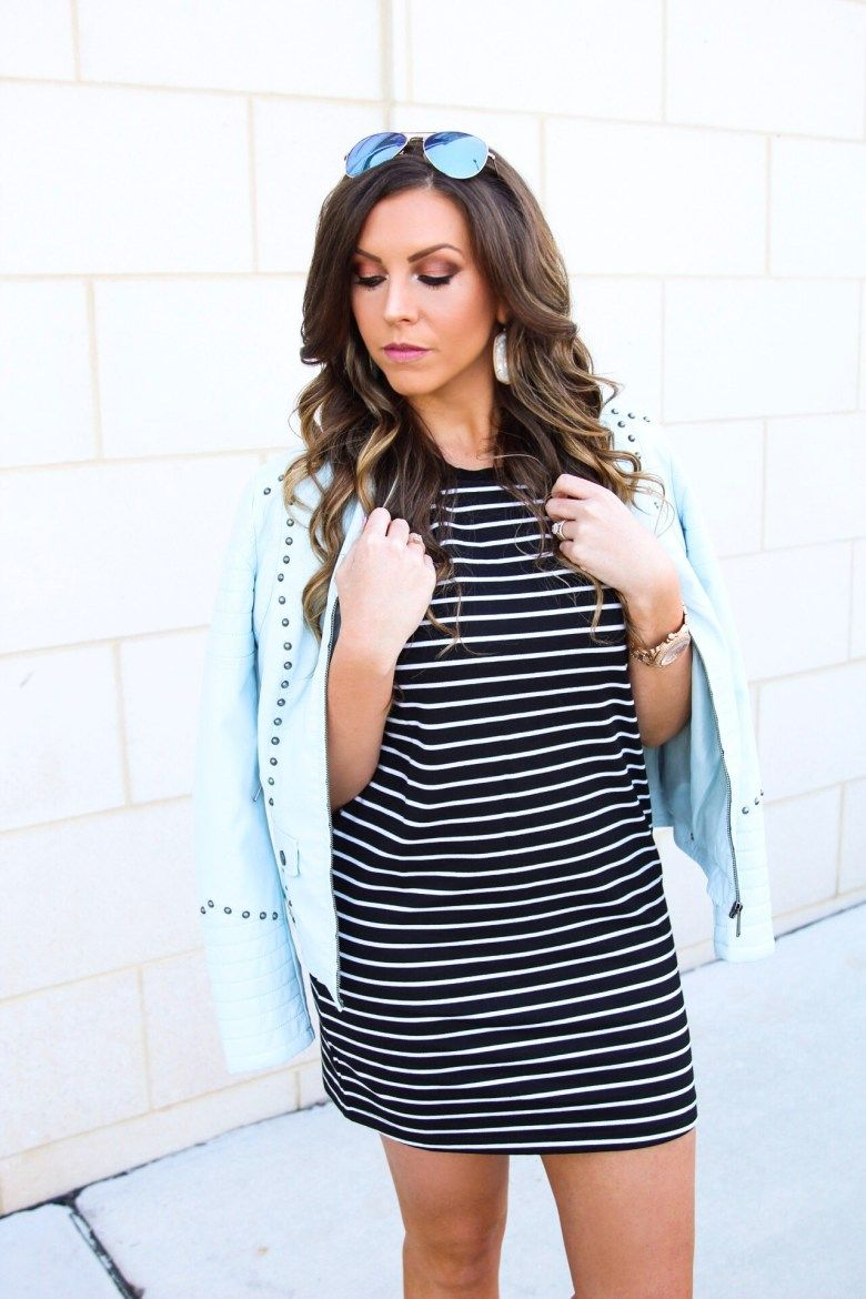 73ef6df2f5668 Black and White Striped Tee Dress + Best Wedges