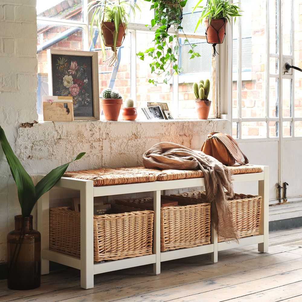 Farmhouse ivory wicker storage seat from the cotswold