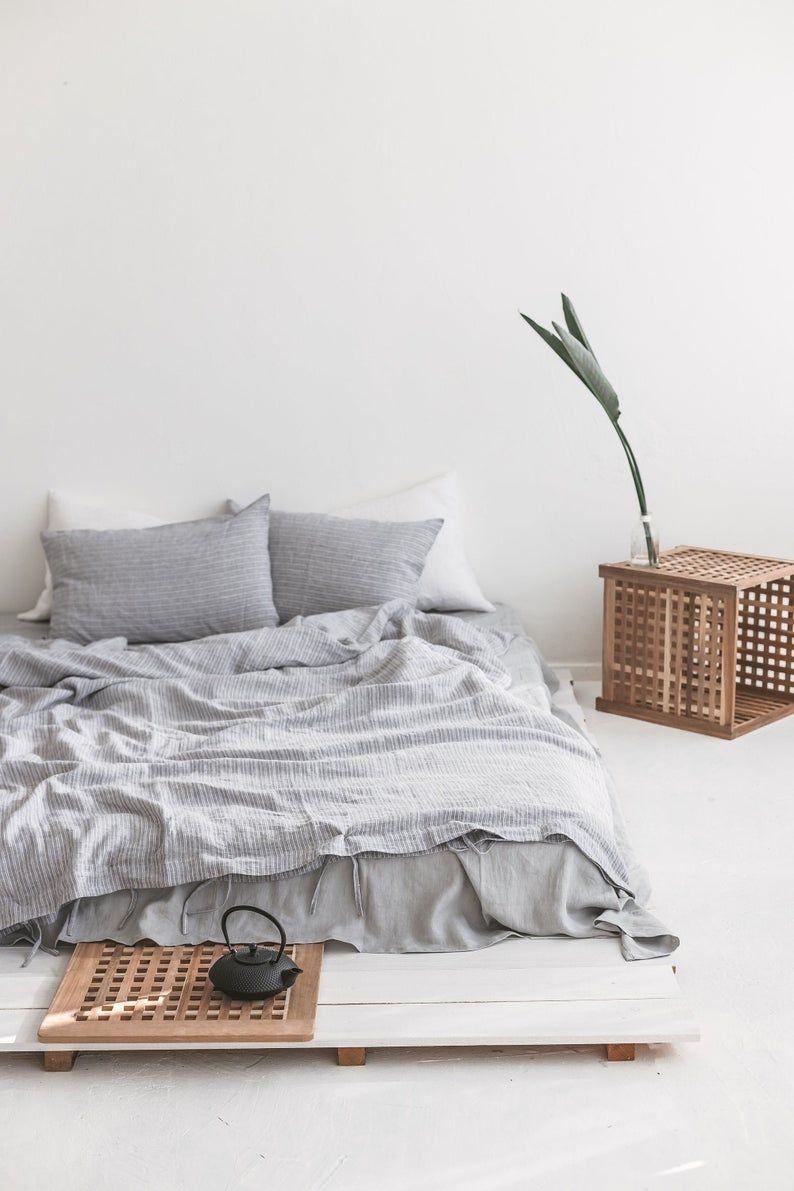 Striped Grey Linen Duvet Cover And Pillowcases Gray Linen Bedding Set Linen Doona Cover With Shams Linen Quilt Cover Queen King Bedding In 2020 Linen Duvet Cover Grey Bed Linen Sets