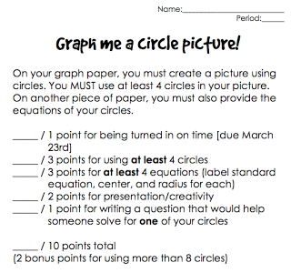 Graph a Circle Project---give equations of circle, center, etc ...