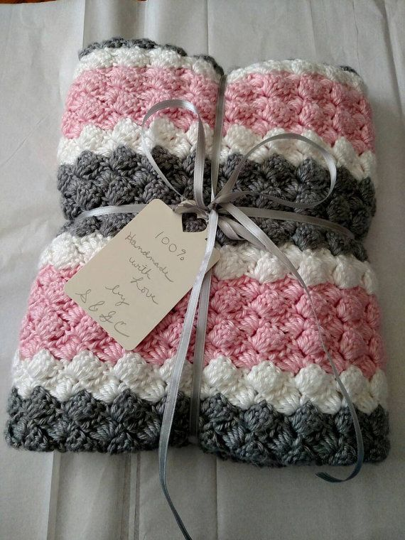 New Hand Crochet//Knit Baby Girls Pink /& Multi Comforter//Security Blanket