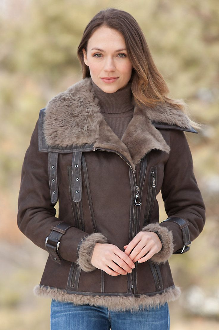 Women's Marlo Shearling Sheepskin Bomber Jacket with Curly