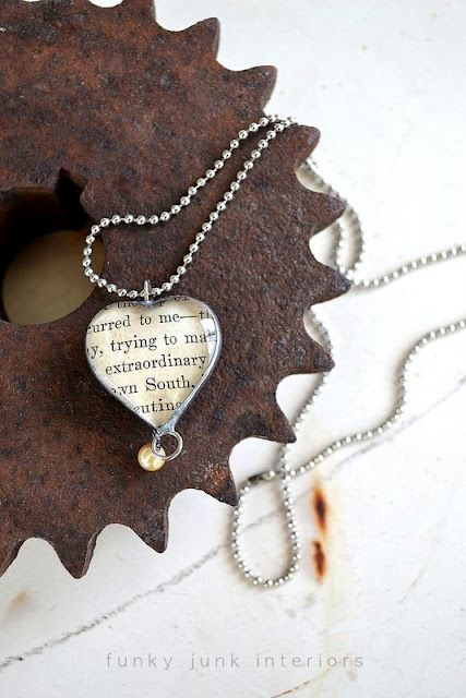 heart pendant with book page reference