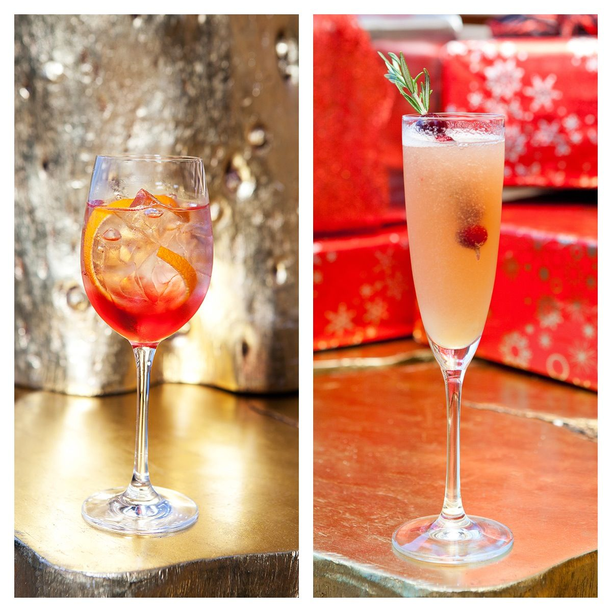 Holiday Cocktails From Wolfgang Puck S Wp24 The Poinsettia And A Bellini In A Pear Tree Holiday Cocktails Alcoholic Drinks Holiday
