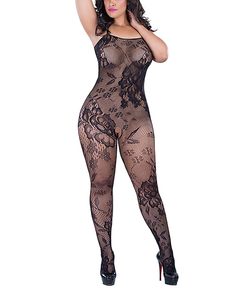 e2c8124292a Love this Oh la la Cheri Black Floral Fishnet Body Stocking - Plus by on   zulily!  zulilyfinds