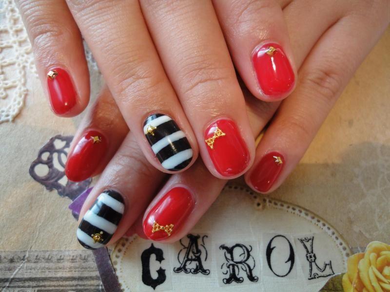 red black & white striped nails