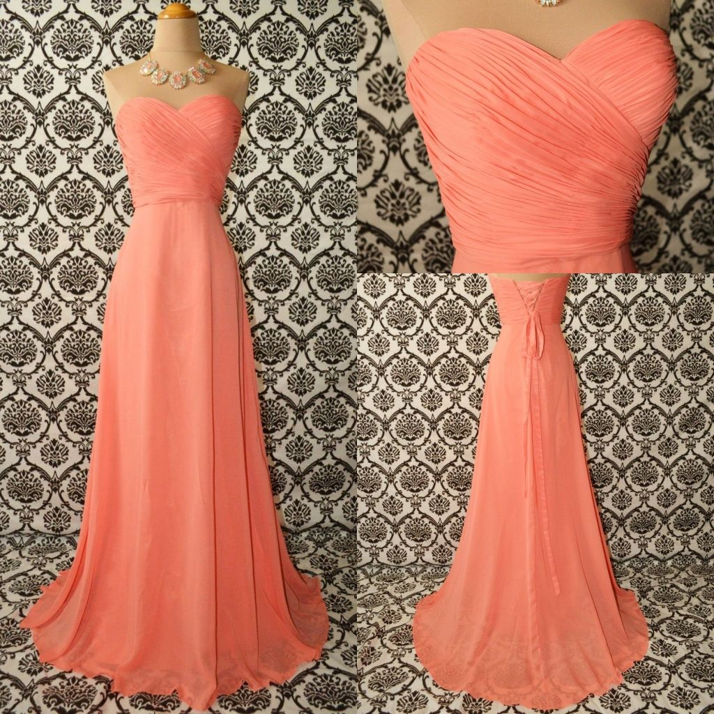 Peach Long Chiffon Prom Evening Party Homecoming Cocktail Bridesmaid ...
