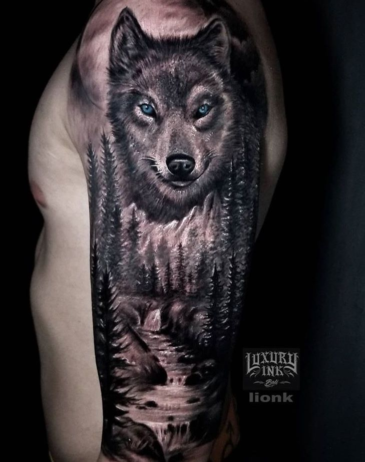 Wolf Tattoo Half Sleeve Shoulder Scenery Forest Moon Mountains Trees Waterfall Wolf Tattoo Shoulder Wolf Tattoos Half Sleeve Tattoo