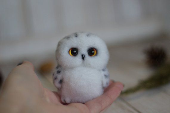 Made to order! little white owl Needle felted Felt toys owl sculpture owl lover gift gift toy owl home decor needle felt bird birthday gift #felttoys