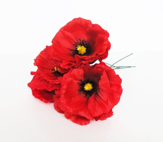 10 Red Poppies Artificial Flowers Silk Poppy 43 Flower Wedding