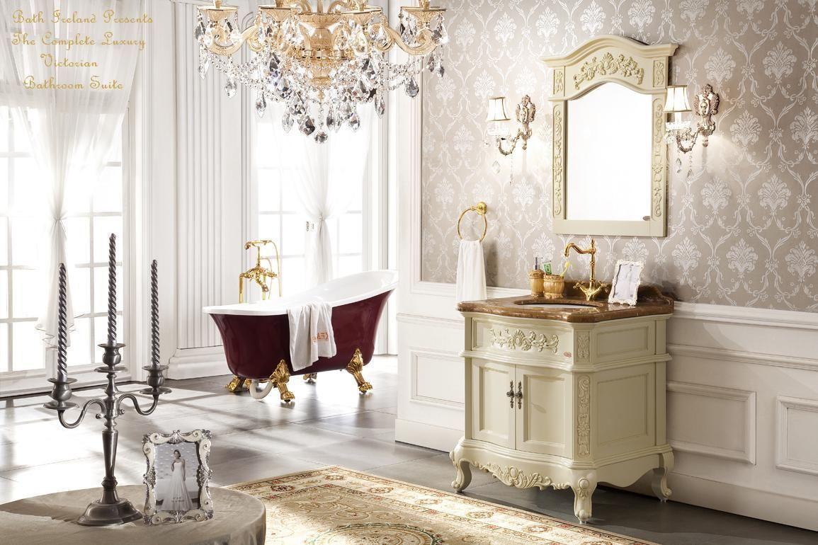 Bathroom French Antique White Vanity Unit, Ceramic Basin ...