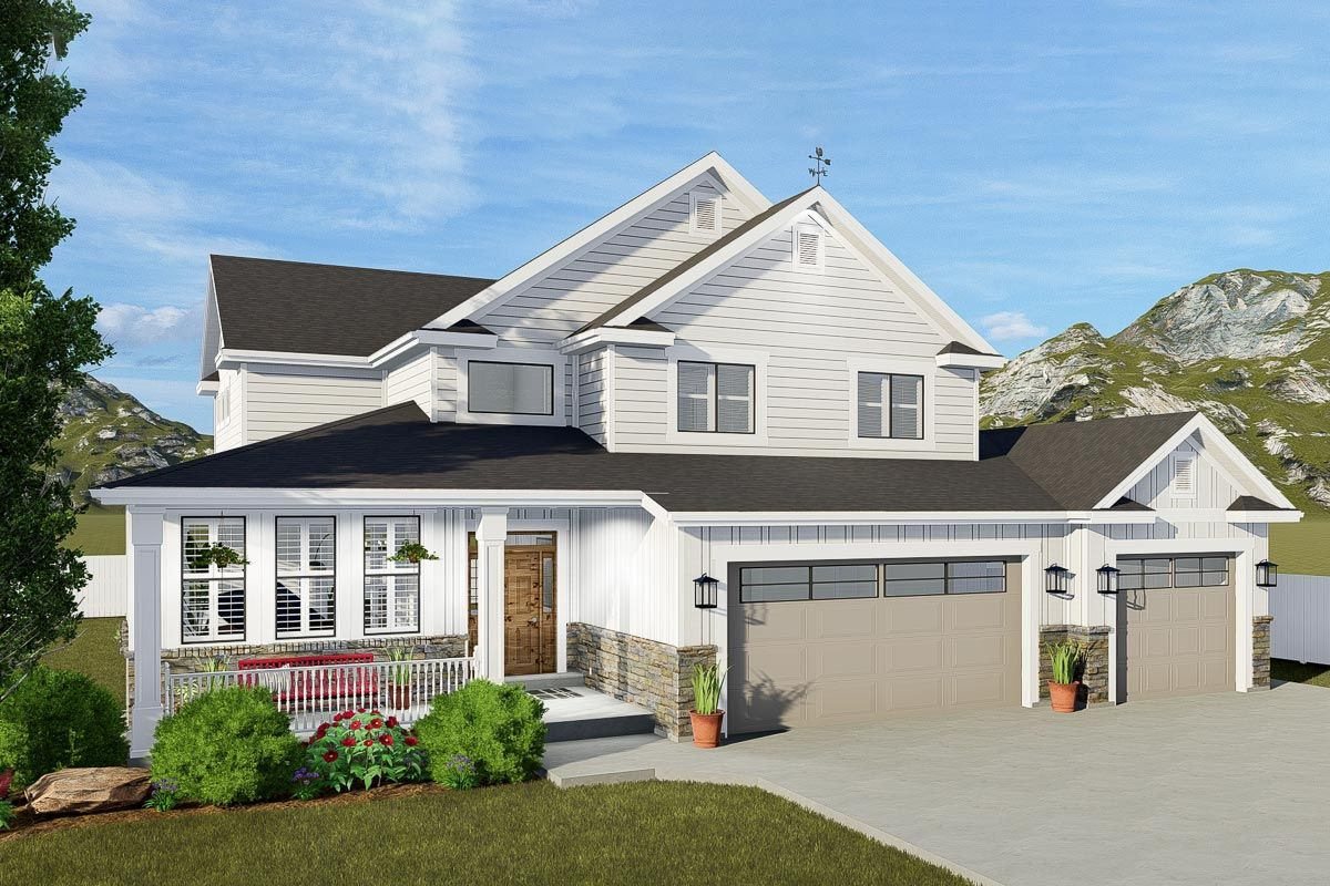 Plan 61330UT TwoStory Modern Farmhouse Plan with