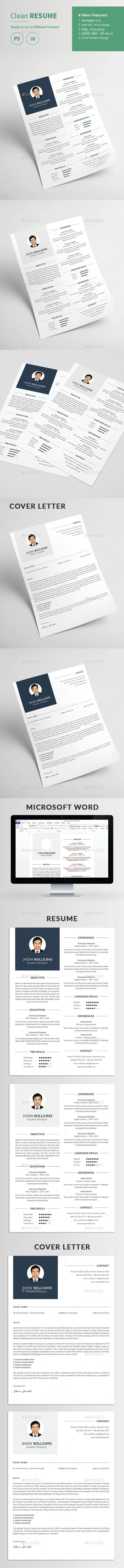 Clean Resume And Cover Letter  Fonts Simple Resume Template And