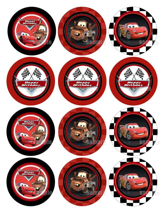 Instant Non Personalized Birthday Disney Cars Cupcake Toppers Or Favor Tags Gift Printable Party Circles