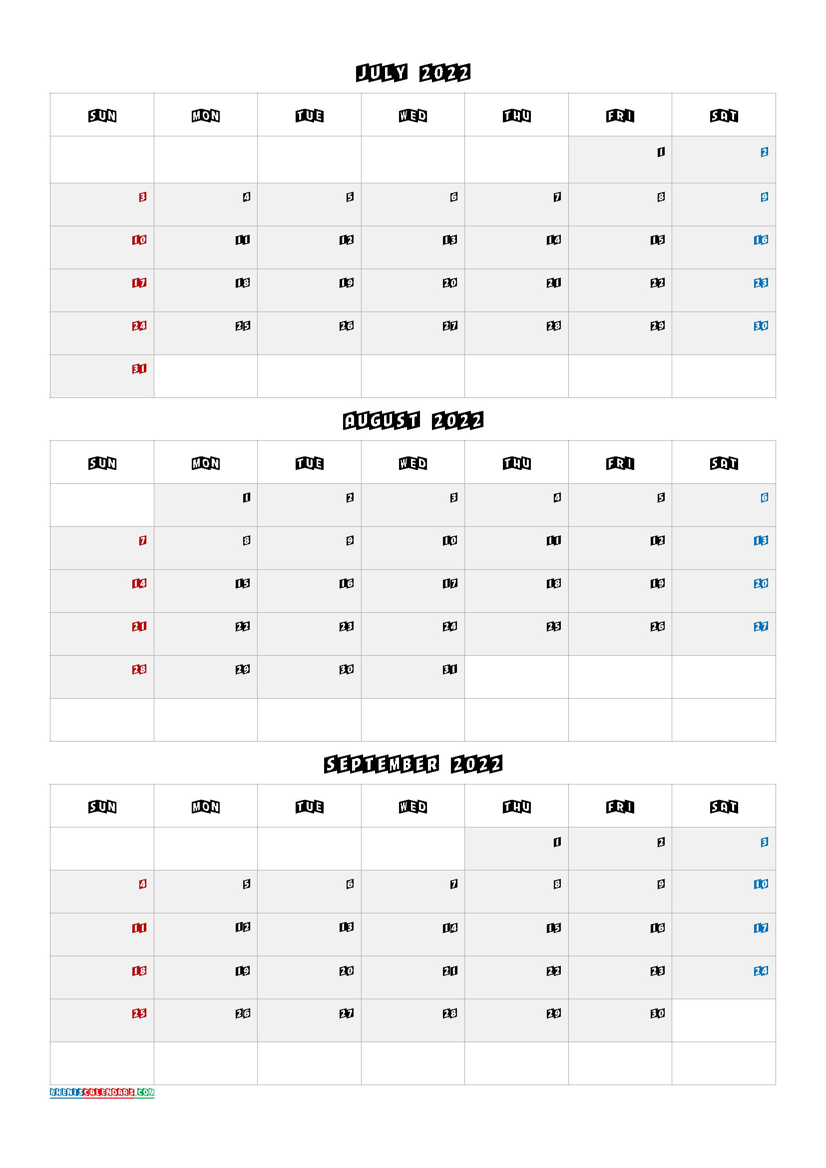 Quarterly Calendar 2022.July August September 2022 Printable Calendar Q1 Q2 Q3 Q4 Monthly Calendar Printable Calendar Printables Printable Calendar