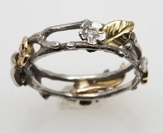 Floral Wreath Ring In Silver And 18k Gold In 2019