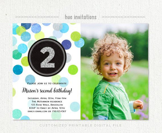 2nd Birthday Invitation Boy Blue Green Silver Glitter Second Party Birt
