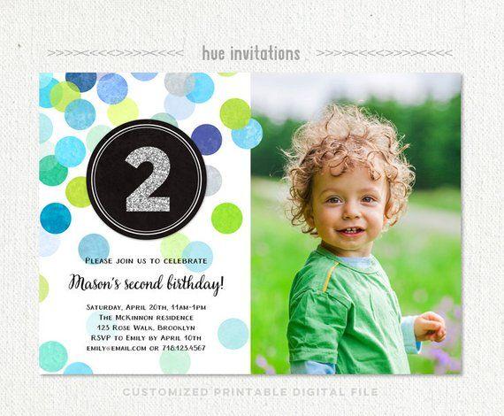 2nd Birthday Invitation Boy Blue Green Silver Glitter