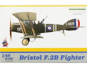 The Eduard Bristol F.2B Fighter in 1/48 scale from the plastic aircraft model range accurately recreates the real life British biplane fighter aircraft flown during World War II. This plastic aircraft kit requires paint and glue to complete.
