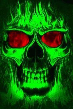 Green Skulls On Fire