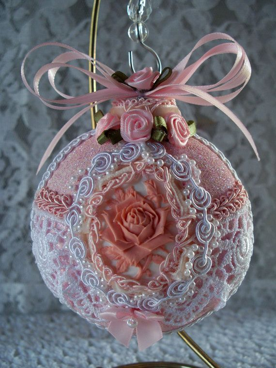 Gorgeous Shabby Pink Rose Cameo Glass Christmas Ornament