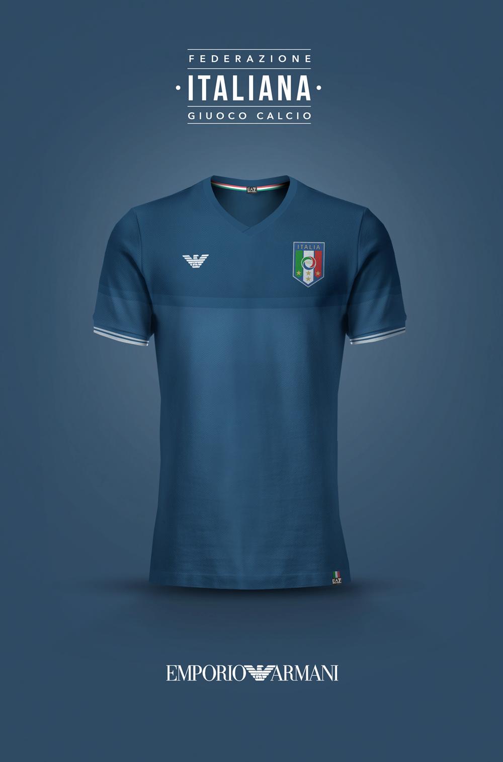 National Football kits reimagined with Local Brand sponsorship by Emilio  Sansolini - Italy x Emporio Armani 52dbb2b25c300