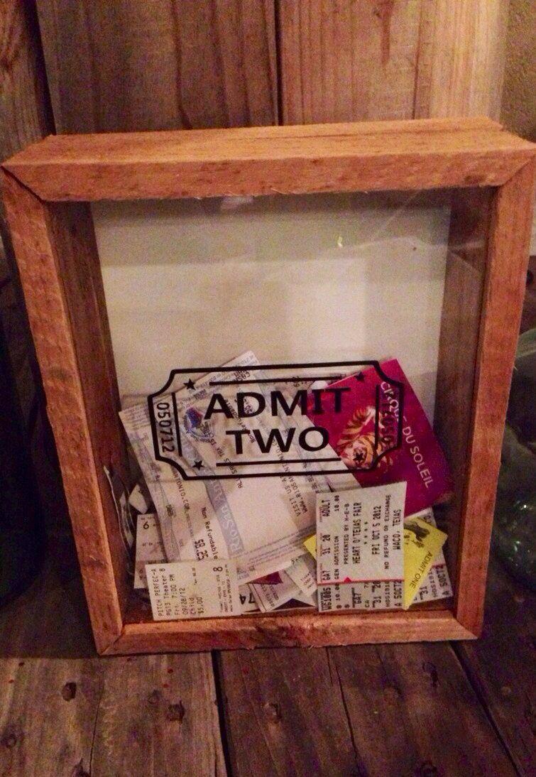Anniversary Date Admit Two Wedding Ticket Stub Box For Movies, Plane ...