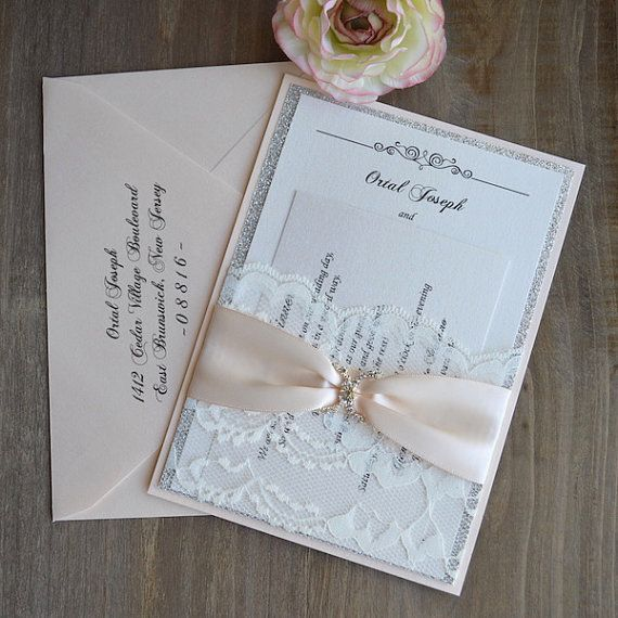 Lace Pocket Wedding Invitation Nude Ribbon By PaperLaceBoutique