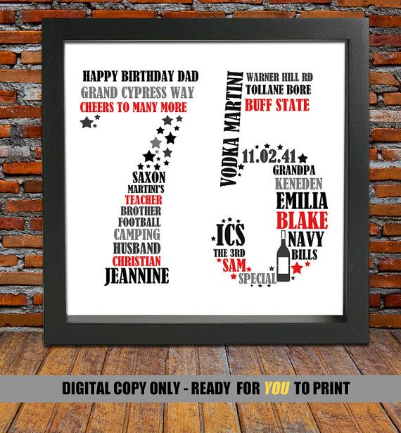 personalized 75th birthday gift for him 75th by blingprints mac