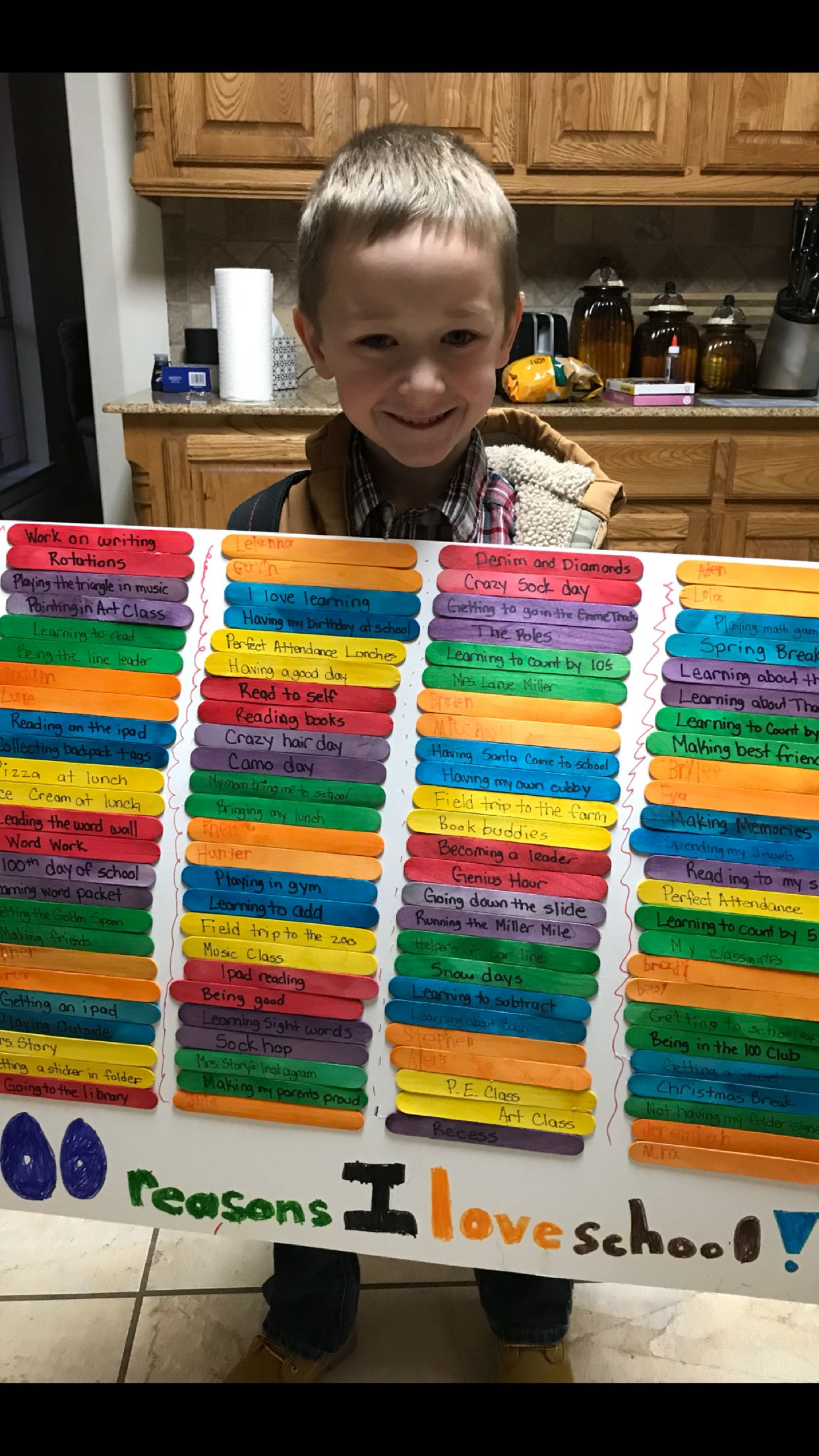100th Day Of School Project I Bought Colored Popsicle Sticks And