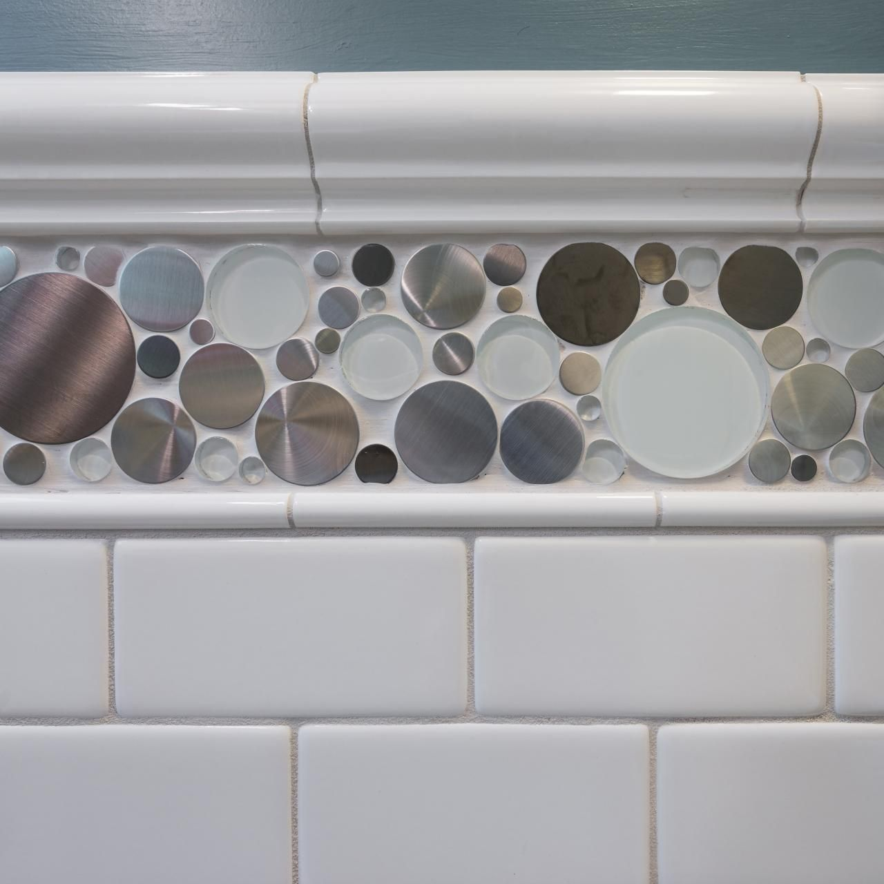 Jazz up classic white subway tile with an accent tile like the jazz up classic white subway tile with an accent tile like the steel and dailygadgetfo Image collections